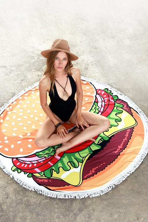 Hamburger Print Round Beach Towel