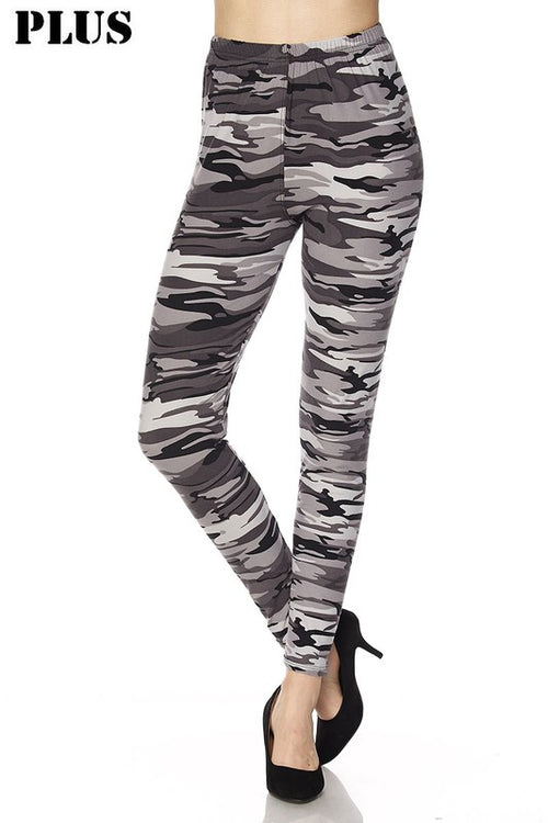 Black & White Camo Print Brushed Ankle Leggings - Curvy