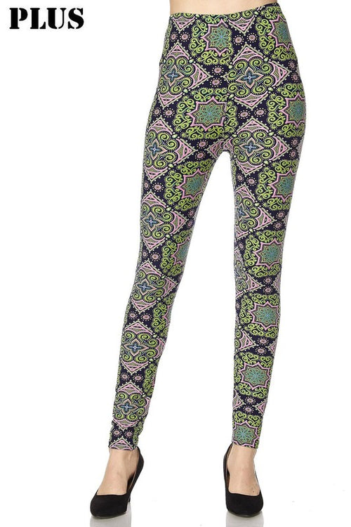 Curvy Multi Print Spring Leggings