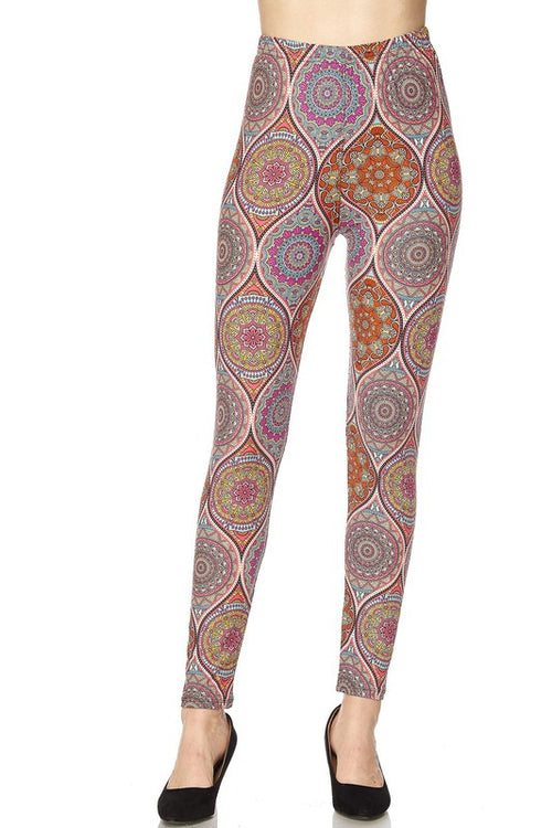Paisley Print Yummy Brushed Ankle Leggings - Curvy