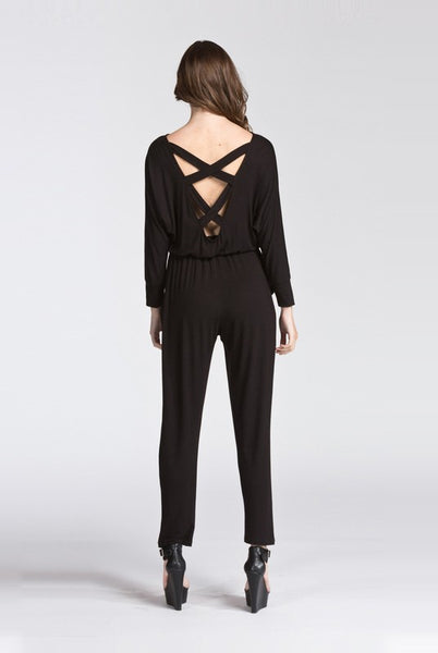 Black Criss Cross Back Jumpsuit