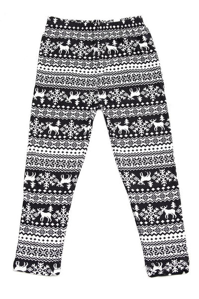 Multi Christmas Print Yummy Brushed Ankle Leggings - Kids