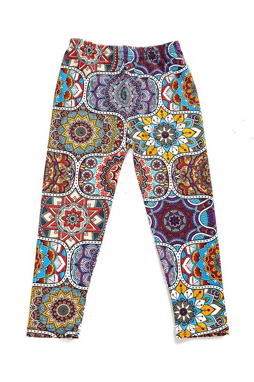 Multi Print Yummy Brushed Leggings - Kids