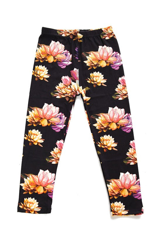 Lotus Floral Brushed Leggings  - Kids