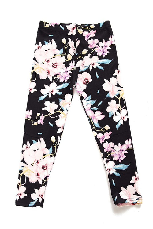 Floral Lilac Brushed Leggings - Kids