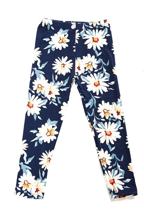 Daisy Print Brushed Leggings - Kids