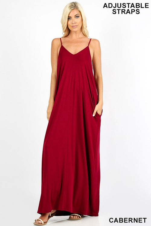 Maxi Dress W/ Pockets & Adjustable Straps