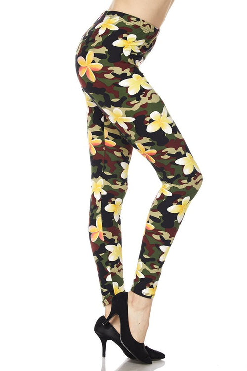 Flowers Camo Print Ankle Leggings