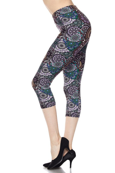Multicolor Mandala Capri Leggings