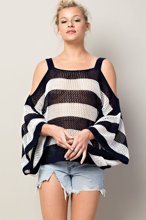 Dolman Sleeve Border Sweater Top - Navy