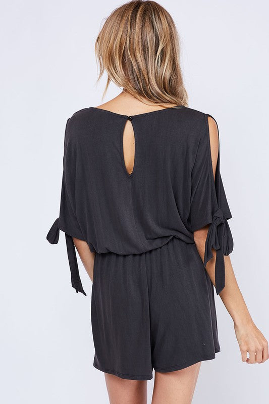 Cold Shoulder Romper - Charcoal