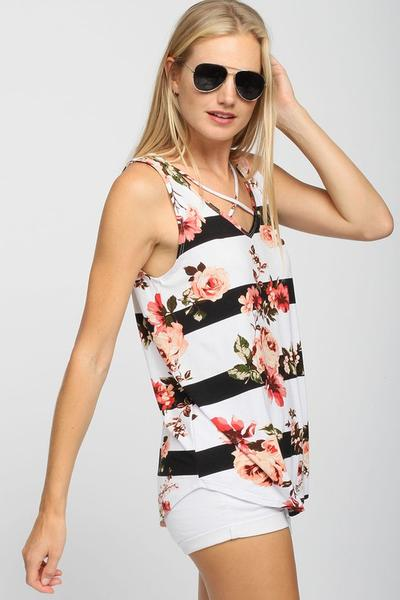 Floral Stripe Tank - 2 colors