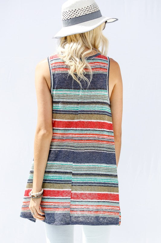 Multi Stripe Tank - Navy