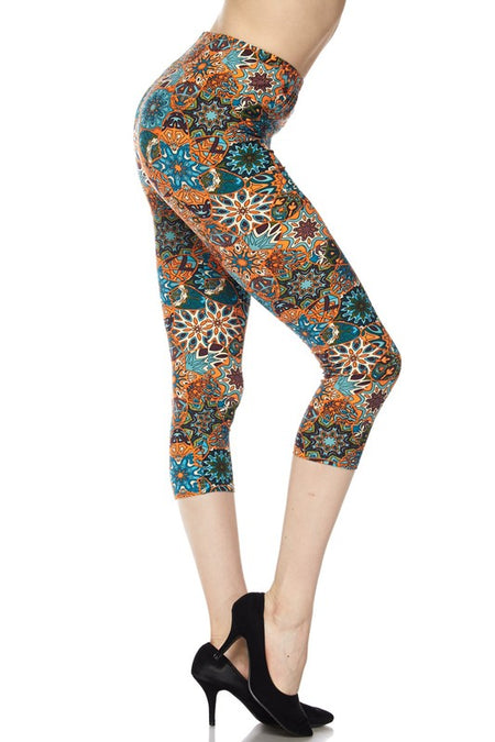 Green Red/Orange Plaid Print Leggings