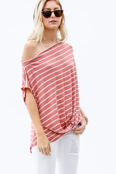 Striped Off The Shoulder Top - More colors