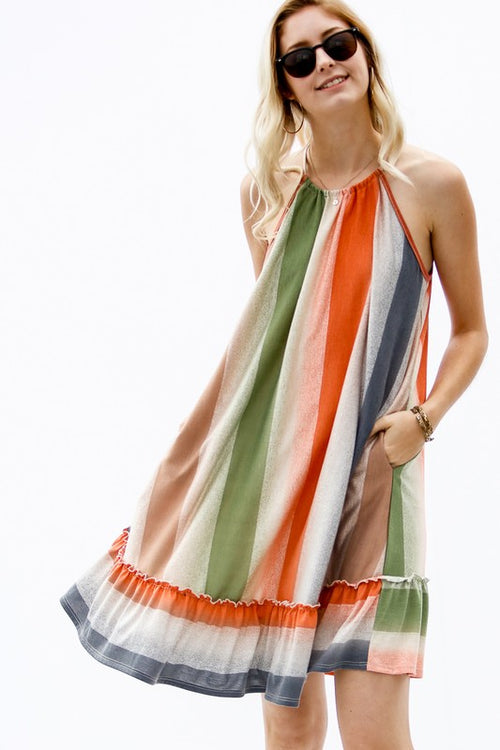 Vertical Color Jersey Halter Dress