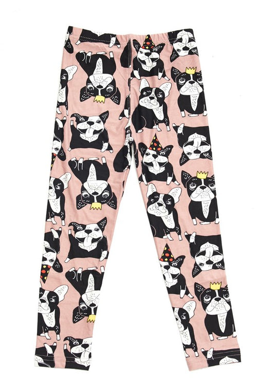 Playful Puppy Print Buttery Soft Leggings- Kids