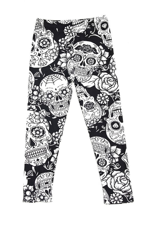 Black & White Sugar Skull Print Leggings - Kids