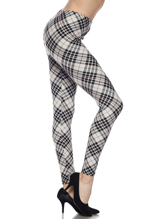Tartan Print Buttery Soft Ankle Leggings - Curvy