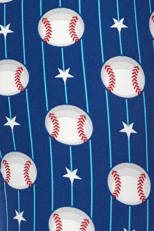 Curvy- Baseball Stars  Buttery Soft Leggings