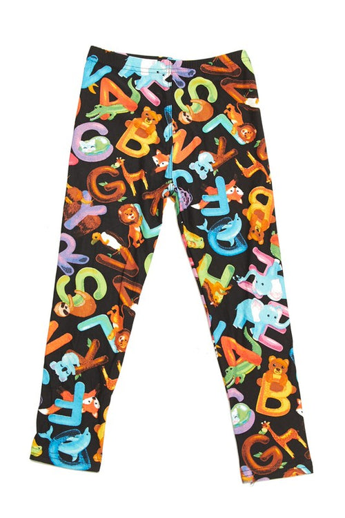 Alphabet Fun Animal Print Leggings - Kids