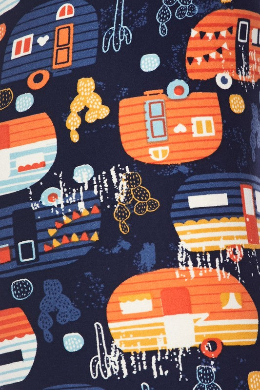 Orange Campers Print Leggings - Kids