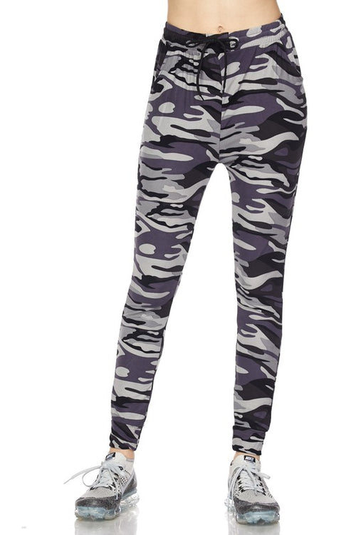 Grey Camo Print Drawstring Joggers w/ Side Pockets