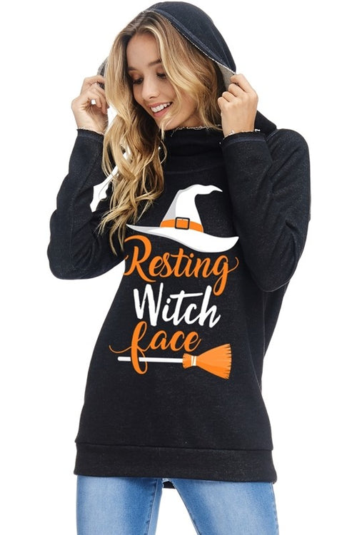 Resting Witch Face Graphic Hoodie