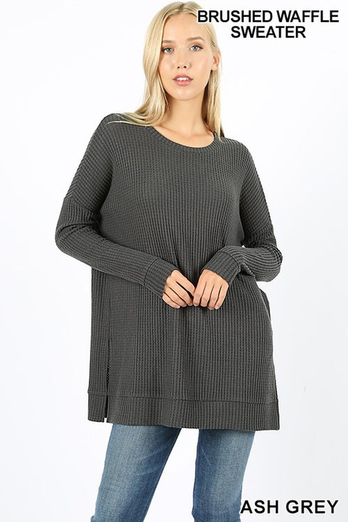 Waffle Style Brushed Top - Mocha and Black