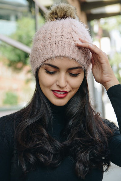 Bombshell Fuzzy Pom Beanie - More Colors