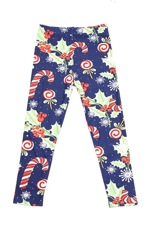 Poinsettia Candy Cane Yummy Brushed Ankle Leggings - Kids