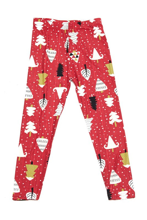 Snowy Christmas Tree Yummy Brushed Ankle Leggings - Kids