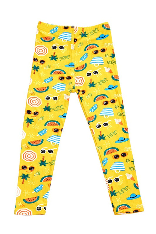 Beach Party Print Ankle Leggings - Kids