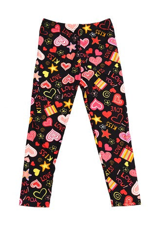 I Love Hearts Print Leggings - Kids
