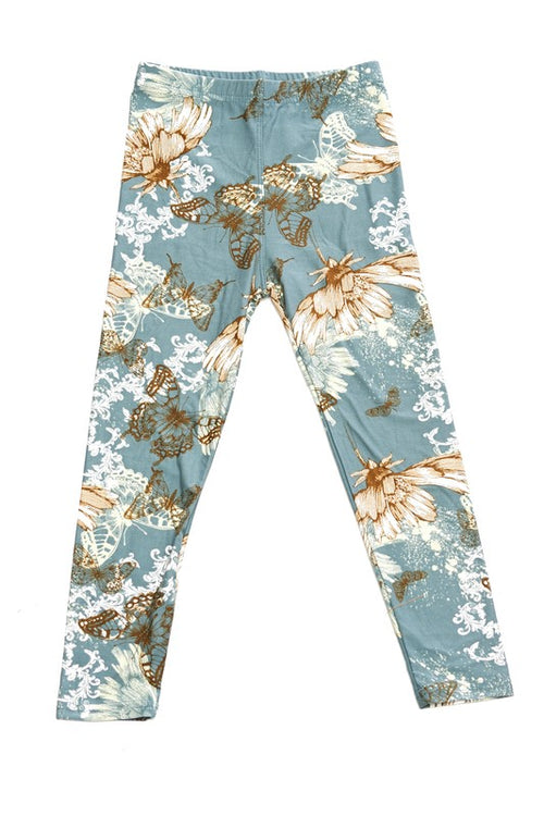 Butterfly Garden Print Leggings - Kids