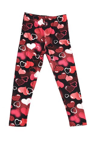 Valentine Hearts Print Leggings - Kids