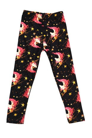 Unicorn Star Print Leggings - Kids
