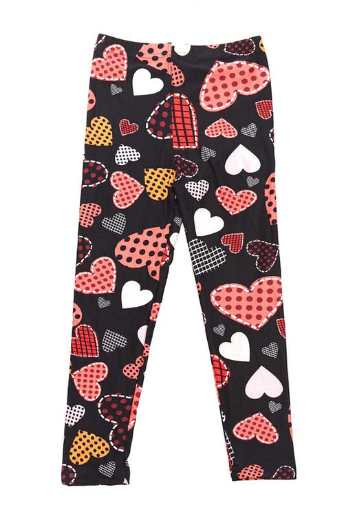 Polka Dot Heart Print Brushed Leggings - Kids