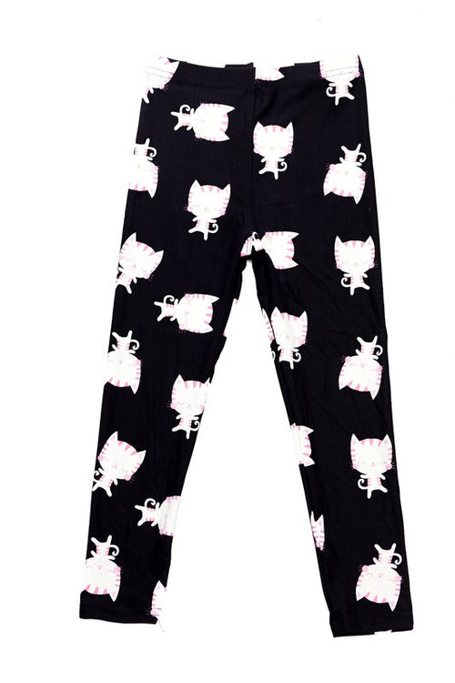 Big Head Kitten Print Brushed Leggings - Kids