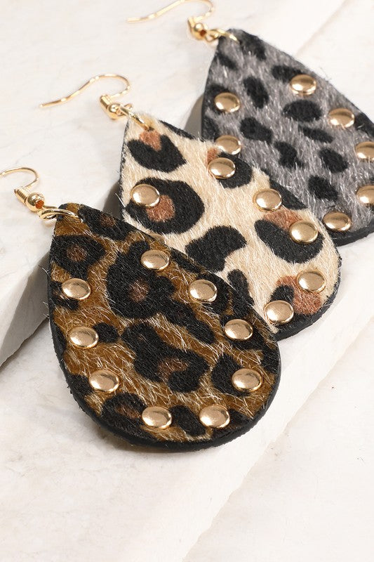Studded Faux Fur Earrings
