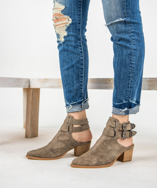Boho Western Bootie - Taupe