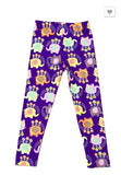 Colorful Floral Elephant Print Leggings - Kids