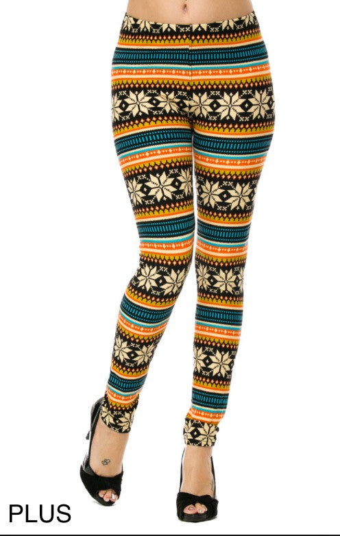 Brushed Poly Fair Isle Print Ankle Leggings Plus Size