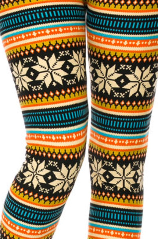 Brushed Poly Fair Isle Print Ankle Leggings - Curvy