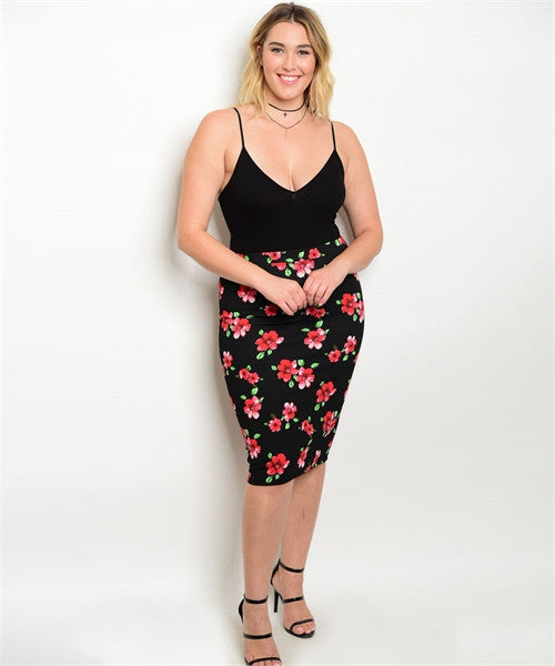 BLACK RED GREEN PLUS SIZE SKIRT
