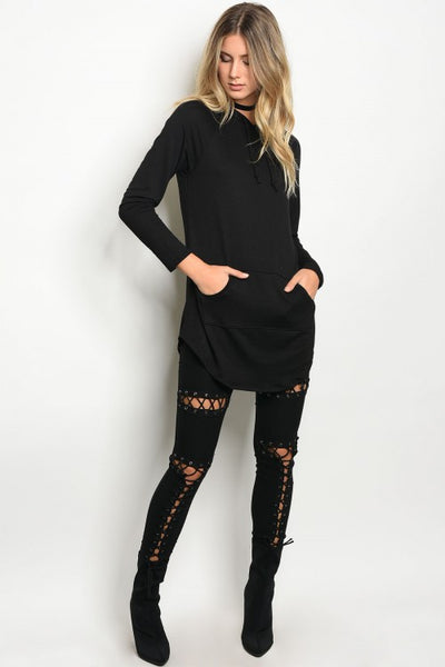 Black Hooded Sweater Top