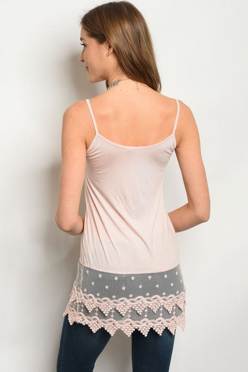Crochet Trim Tank Top - Peach