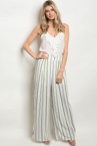 White & Olive Striped Pant