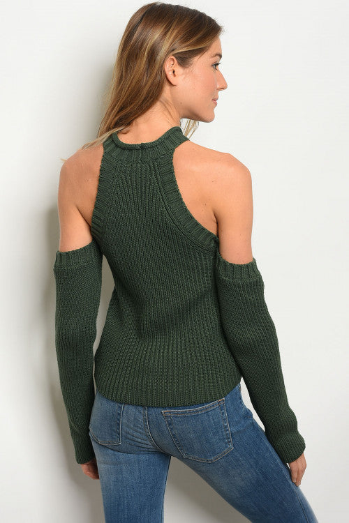 High Neck Cold Shoulder Sweater
