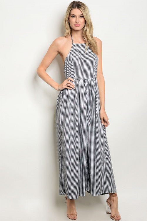 Wide Leg Gingham Jumpsuits